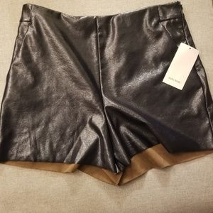 Zara Basic Faux Leather Shorts